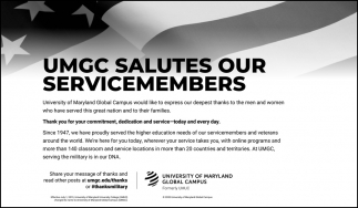 UMGC Salutes Our Servicemembers