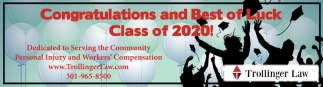 Congratulations and Best of Luck Class of 2020