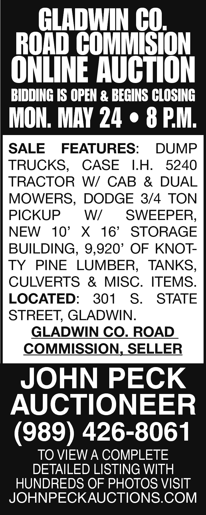 Gladwin Co. Road Commision Online Auction