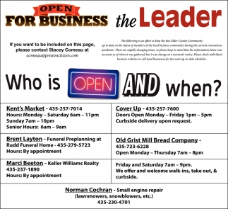 Open For Business The Leader