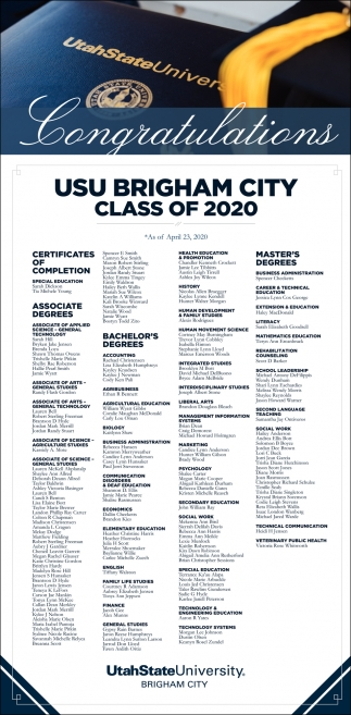 USU Brigham City Class Of 2020