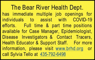 Case Manager - Epidemiologist - Disease Investigators - Contact Tracers - Health Educator