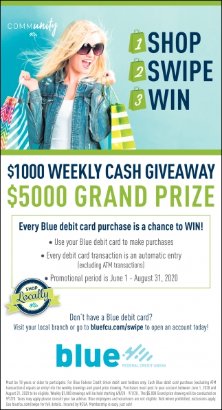 Every Blue Debit Card Purchase is a Chance to Win!