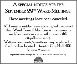 A Special Notice for the September 29th Ward Meetings