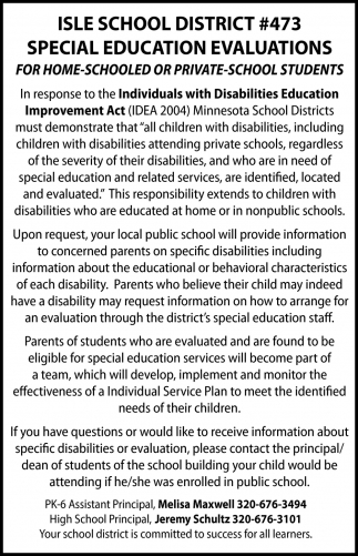 Special Education Evaluations