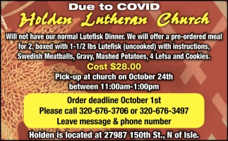 We Will Offer a Pre-Ordered Meal for 2, Boxed with 1-1/2 lbs Lutefisk (Uncooked) with Instructions