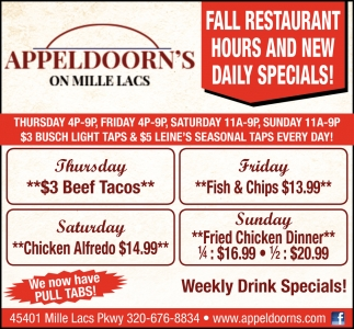 Fall Restaurant Hours and New Daily Specials!