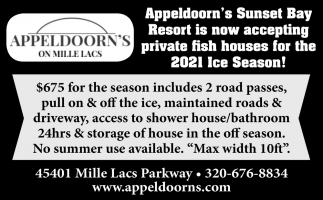 Appeldoorn's Sunset Bay Resort is Now Accepting Private Fish Houses for the 2021 Ice Season!