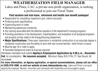 Weatherization Field Manager
