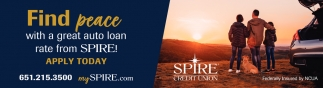 Find Peace with a Great Auto Loan Rate from SPIRE!