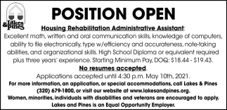 Housing Rehabilitation Administrative Assistant