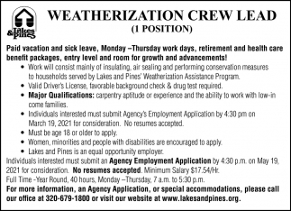 Weatherization Crew Lead