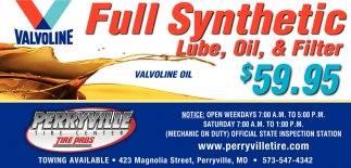 Full Synthetic Lube, Oil, & Filter