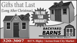 Gifts that Last, Backyard Barns