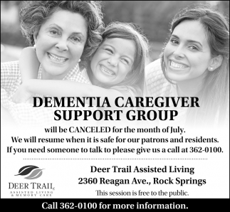 Dementia Caregiver Support Group will Be Canceled for the Month of July