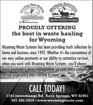 Proudly Offering the Best in Waste Hauling for Wyoming