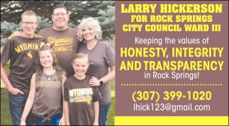 Keeping the Values of Honesty, Integrity and Transparency in Rock Springs!