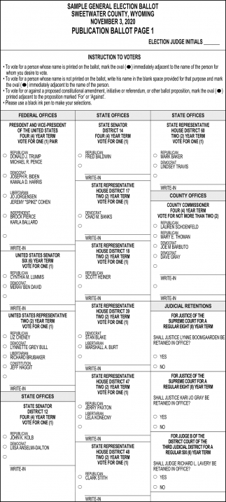 Sample General Election Ballot