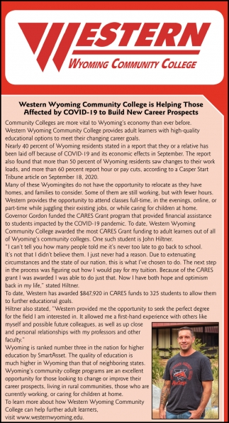 Western Wyoming Community College is HElping Those Affected by COVID-19 to Build New Career Prospects