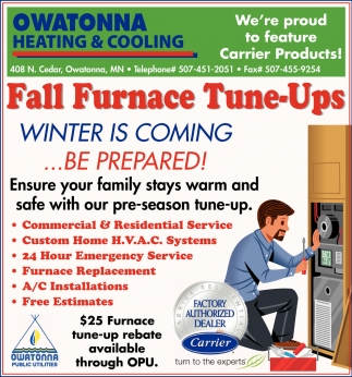 Winter Is Coming Be Prepared Owatonna Heating Cooling