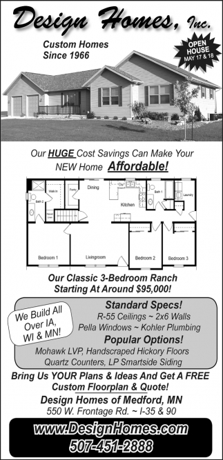 Our Huge Cost Savings Can Make You New Home Affordable Design Homes Inc Medford Mn