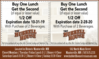 Buy One Lunch Get the Second 1/2 off