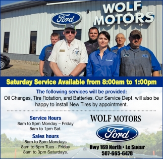 Saturday Service Available from 8:00am to 1:00pm