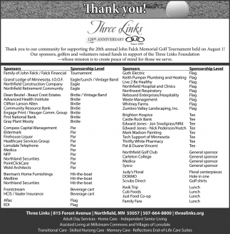 Thank you to our community for supporting the 20th annual john Flack Memorial Golf Tournament