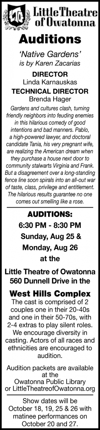Auditions - Native Gardens