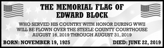 Memorial Flag of Edward Block