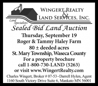Sealed Bid Land Auction ~ September 19