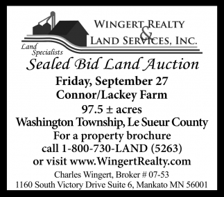 Sealed Bid Land Auction ~ September 27