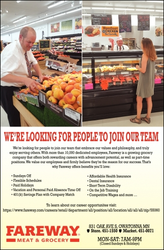 We're looking for people to join our team