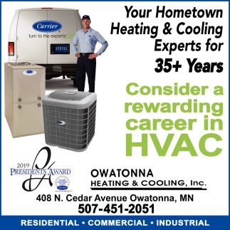 Your Hometown Heating & Cooling Experts for 35+ Years