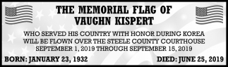 Memorial Flag of Vaughn Kispert