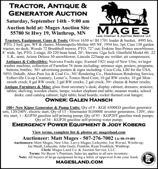 Tractor, Antique & Generator Auction