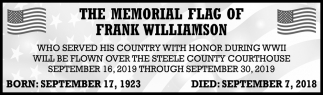 Memorial Flag of Frank Williamson