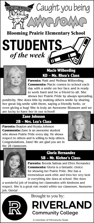 Students of the week - Macie Wilberding, Zane johnson, Gloria Hernandez