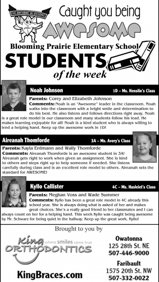 Students of the Week - Blooming Prairie Elementary School