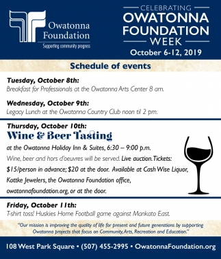 Schedule of Events - Owatonna Foundation Week - October 6 -12