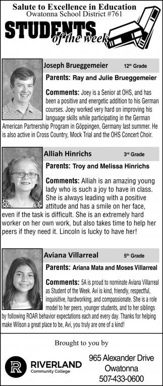 Students of the week - Ray and Julie Brueggemeir, Allia Hinrichs, Aviana Villarreal