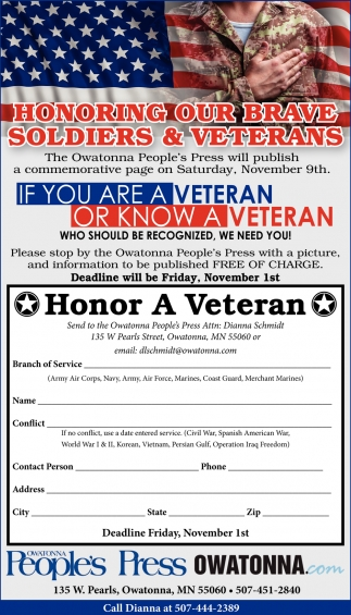 Honoring our brave soldiers & veterans
