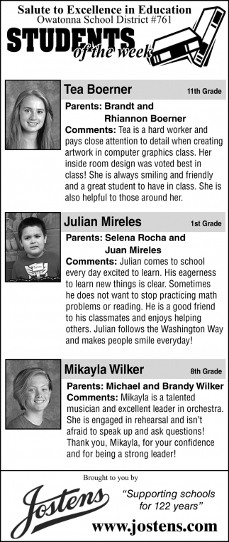Students of the week - Tea Boerner, Julian Mireles, Maikayla Wilker