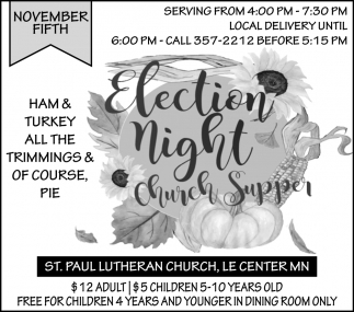 Annual Election Church Supper - November 5th
