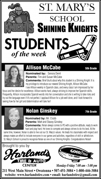 Students of the week- Allison McCabe, Nolan Ginskey