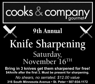 9th Annual Knife Sharpening - November 16th