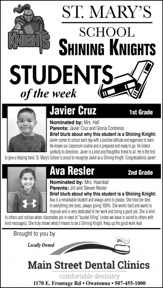 Students of the Week - Javier Cruz, Ava Resler