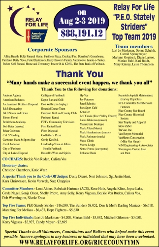 Thank you sponsors for donations