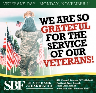 We Are Grateful For The Service Of Our Veterans