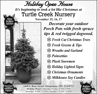 Holiday Open House - November 15, 16, 17